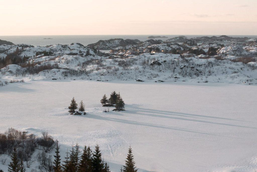 Lage zon in januari Noorwegen