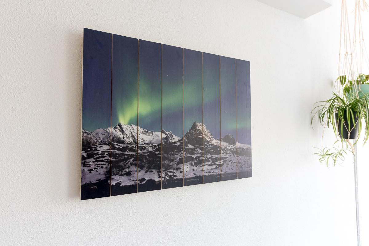 Eigen natuurfoto op hout gedrukt